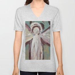 Impressionistic Angel #2 Maroon & Ivory Unisex V-Neck