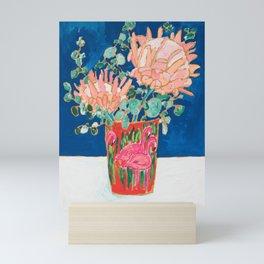 Protea in Enamel Flamingo Tumbler Painting Mini Art Print