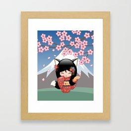 Japanese Kitsune Kokeshi Doll Framed Art Print