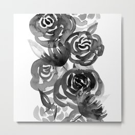 Black and White Watercolor Floral Stripe Metal Print