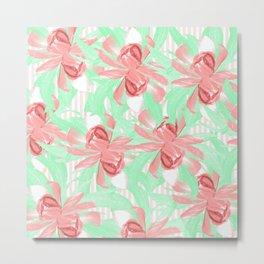 Candy Stripe Pink Blush Floral Metal Print