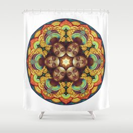 Metta Mandala White Shower Curtain