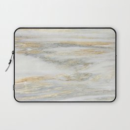 White Gold Marble Texture Laptop Sleeve