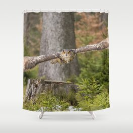Eagle Owl In Flight. Shower Curtain