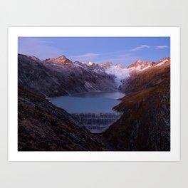 Grimsel Oberaar mountain lake at sunrise, Berner Oberland, Switzerland Art Print
