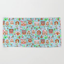 Gingerbread House Christmas Winter Candy, sweets.christmas gift, holiday gift for kids of all ages, Beach Towel
