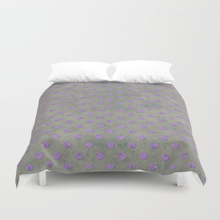 Purple Glitter Dots on Grunge Gray Duvet Cover