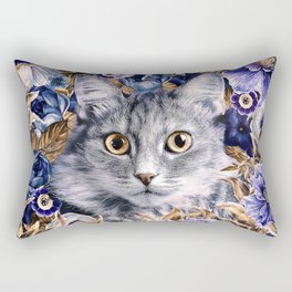 Cat in Flowers. Autumn Rectangular Pillow