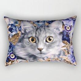 Cat in Flowers. Autumn Rectangular Pillow