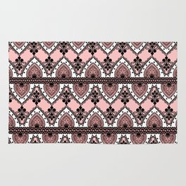 Blush Pink Black and White Ornate Lace Pattern Rug