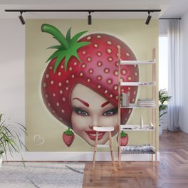 Strawberry fruit face Wall Mural