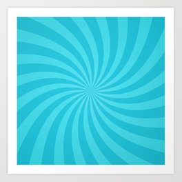 Blue Spiral Ray Stripes Art Print