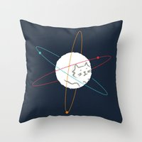 physics Throw Pillows featuring Cat-ion by Picomodi
