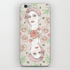 Woman with flowers and beetles iPhone & iPod Skin