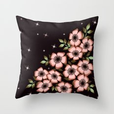 Pink flowers on a black background. Throw Pillow