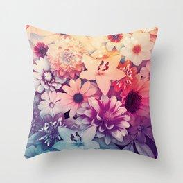 Hipster Flowers Throw Pillow