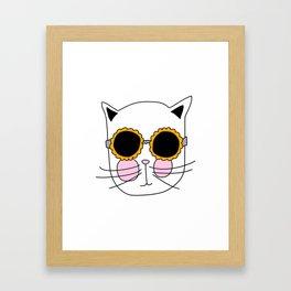 Cat Sunflower Glasses Framed Art Print