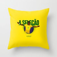brasil Throw Pillows featuring Brasil by Skiller Moves