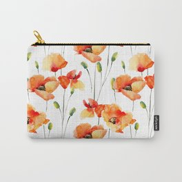 Hand Painted orange yellow watercolor poppies floral Carry-All Pouch