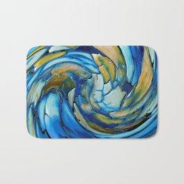 Gold N Blue Abstract Dolphin  Bath Mat
