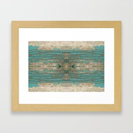 Weathered Rustic Wood - Weathered Wooden Plank - Beautiful knotty wood weathered turquoise paint Framed Art Print