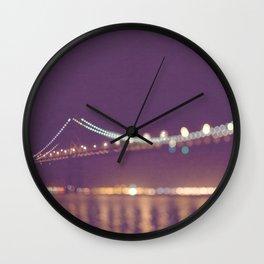 Let's go for a walk. San Francisco Bay bridge night photograph. Wall Clock