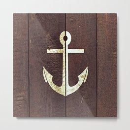 Anchor Wood Metal Print