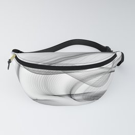Minimal black and white smoky flux in motion #abstractart #decor Fanny Pack