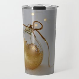 Golden Christmas Ball with Small Lights Travel Mug
