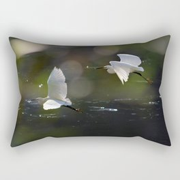 White Herons Flying Rectangular Pillow