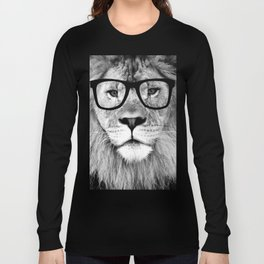 Hippest Lion with glasses - Black and white photograph Long Sleeve T-shirt