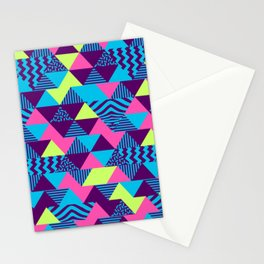 Vintage Retro 1980s 80s Nights New Wave Triangular Print Stationery Cards