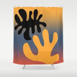 Black leaf Shower Curtain