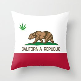 California Republic state flag with green Cannabis leaf Throw Pillow