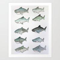 Cute Watercolor Sharks - Ocean Watercolor Art Art Print