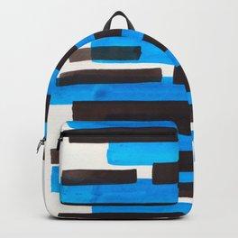 Cerulean Blue Primitive Stripes Mid Century Modern Minimalist Watercolor Gouache Painting Colorful S Backpack