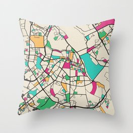 Colorful City Maps: Hanoi, Vietnam Throw Pillow