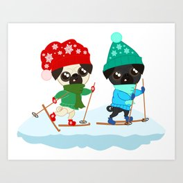 Pug Buddies on a Winter Walk Art Print