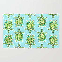 Tortoise Pattern with aqua background Rug