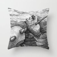 narwhal Throw Pillows featuring Narwhal by GrimReminders