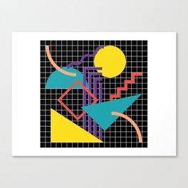 Memphis Pattern - 80s Retro Black Canvas Print