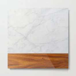 Marble and Wood 2 Metal Print