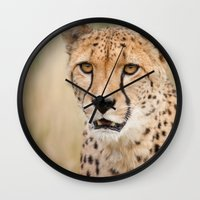 cheetah Wall Clocks featuring Cheetah by Simon's Photography