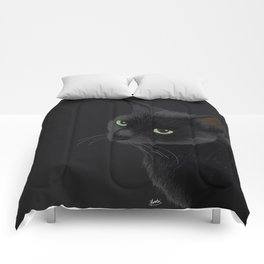 Black cat in the dark Comforters