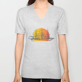 Ship Sailing to Sunset Clipper Boat Paradise Black Unisex V-Neck
