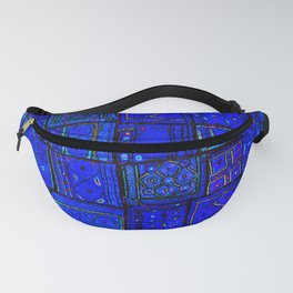 (N17) Calm Indigo Blue Boho Traditional Moroccan Artwork Fanny Pack