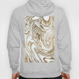 Stylish white faux gold foil elegant marble Hoody