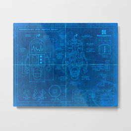Robot Blueprint Metal Print