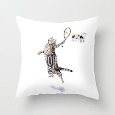 Cat Playing Tennis Throw Pillow