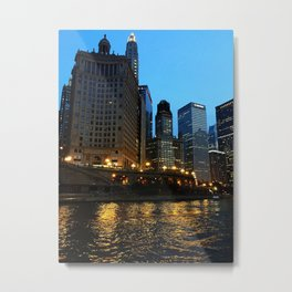 Chicago River and Buildings at Dusk Color Photo Metal Print